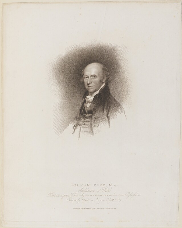 William Coxe, by William Thomas Fry, published by  T. Cadell & W. Davies, after  John Jackson, after  Sir William Beechey, published 21 August 1816 - NPG D14725 - © National Portrait Gallery, London