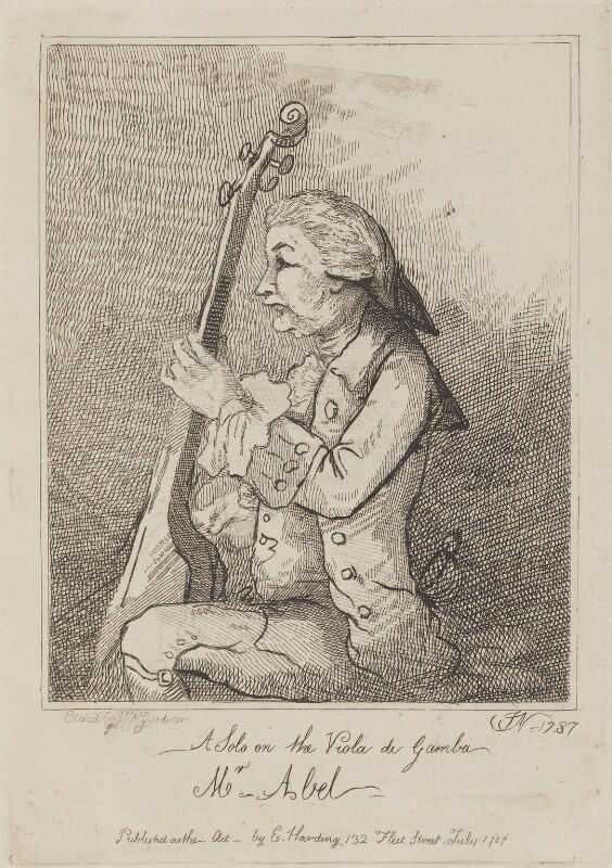 Karl Friedrich Abel, by William Nelson Gardiner, published by  Edward Harding, after  John Nixon, published July 1787 (1787) - NPG D14733 - © National Portrait Gallery, London