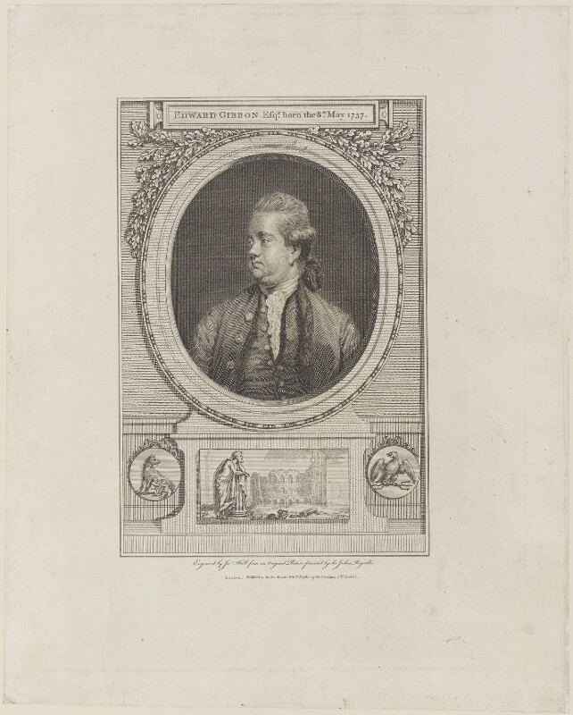 Edward Gibbon, by John Hall, published by  William Strahan, and published by  Thomas Cadell the Elder, after  Sir Joshua Reynolds, published 1 February 1780 (1779) - NPG D14751 - © National Portrait Gallery, London