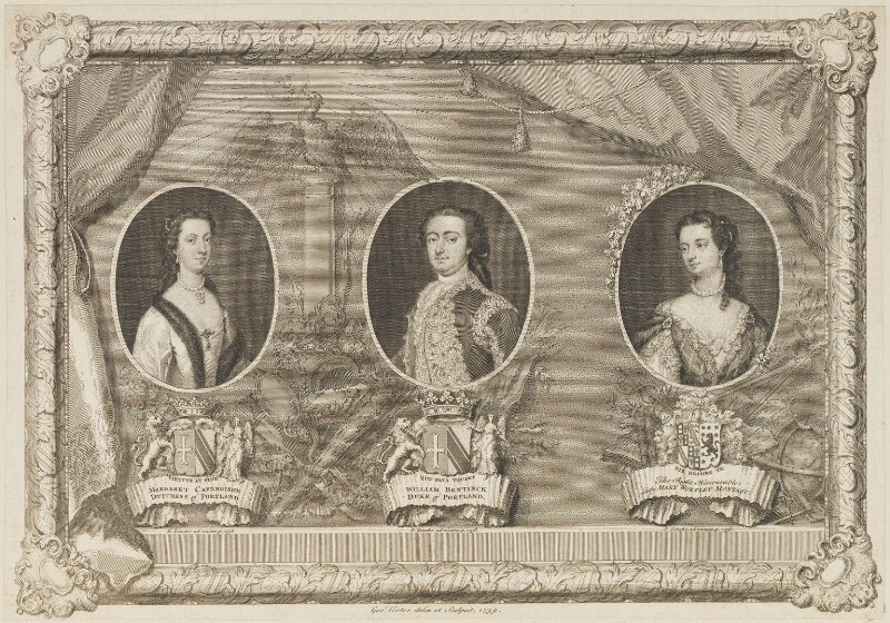 Duke and Duchess of Portland; Lady Mary Wortley Montagu, by George Vertue, after  Christian Friedrich Zincke, 1739 (1738) - NPG D14770 - © National Portrait Gallery, London