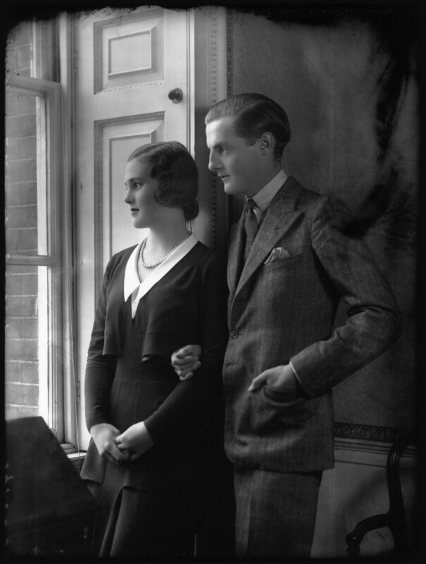 Patricia Kenneth Child-Villiers (née Richards), Countess of Jersey (later Filmer-Wilson, later Laycock); George Francis Child-Villiers, 9th Earl of Jersey, by Bassano Ltd, 19 October 1931 - NPG x34481 - © National Portrait Gallery, London