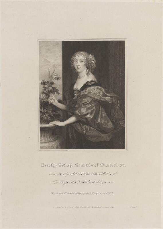 Dorothy Spencer (née Sidney), Countess of Sunderland, by William Thomas Fry, published by  Lackington, Allen & Co, and published by  Longman, Hurst, Rees, Orme & Brown, after  Robert William Satchwell, after  Sir Anthony van Dyck, published 31 October 1816 - NPG D14801 - © National Portrait Gallery, London