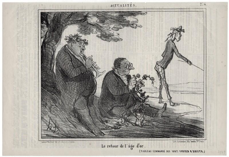 Le retour de l'âge d'or., by Honoré Daumier, published 12 February 1856 - NPG D18087 - © National Portrait Gallery, London