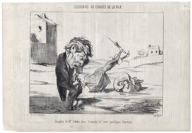 'Disciples de Mr. [Richard] Cobden, dans l'exercice de leurs pacifiques fonctions.', by Honoré Daumier, published 11 September 1849 - NPG D18088 - © National Portrait Gallery, London