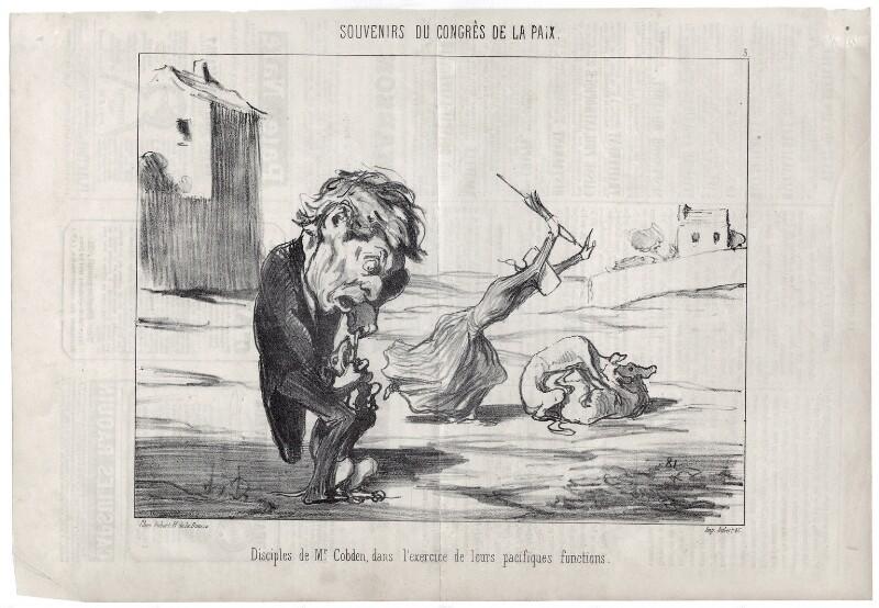 'Disciples de Mr. [Richard] Cobden, dans l'exercice de leurs pacifiques fonctions.', by Honoré Daumier, published 11 September 1849 - NPG D18088 - © National Portrait Gallery, London