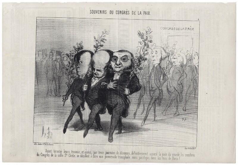 Emile de Girardin; Victor Marie Hugo; Athanase Laurent Charles Coquerel, by Honoré Daumier, published 10 September 1849 - NPG D18089 - © National Portrait Gallery, London