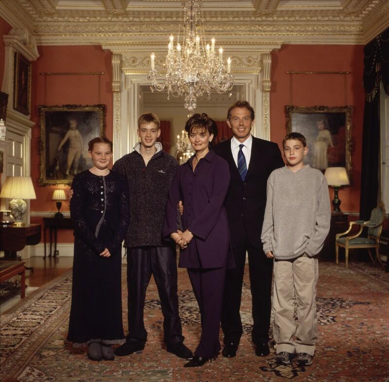 Kathryn Blair; Euan Blair; Cherie Blair (née Booth); Tony Blair; Nicky Blair, by Terry O'Neill, 2001 - NPG x126119 - © Iconic IMages/Terry O'Neill