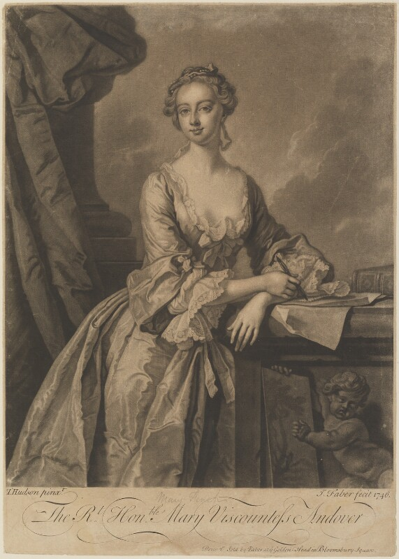 Mary Howard (née Finch), Viscountess Andover, by and published by John Faber Jr, after  Thomas Hudson, published 1746 - NPG D14824 - © National Portrait Gallery, London