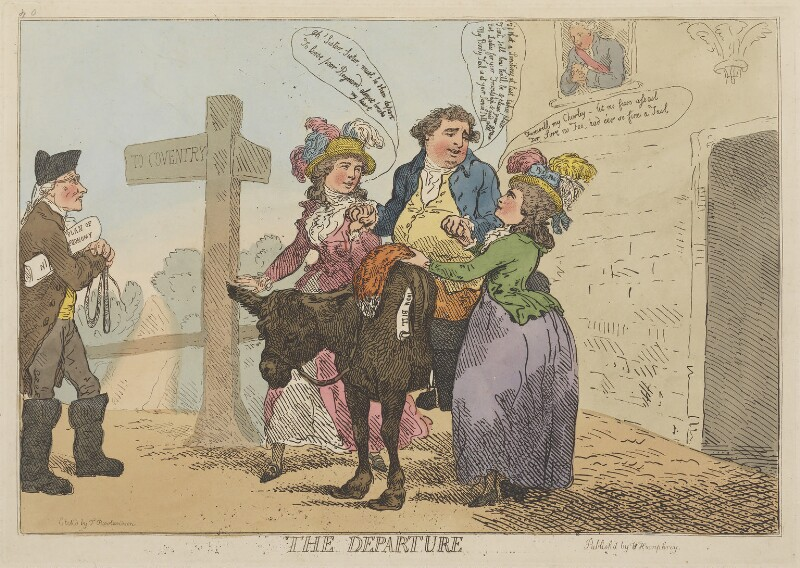 'The Departure', by Thomas Rowlandson, published by  William Humphrey, published 29 April 1784 - NPG D14836 - © National Portrait Gallery, London