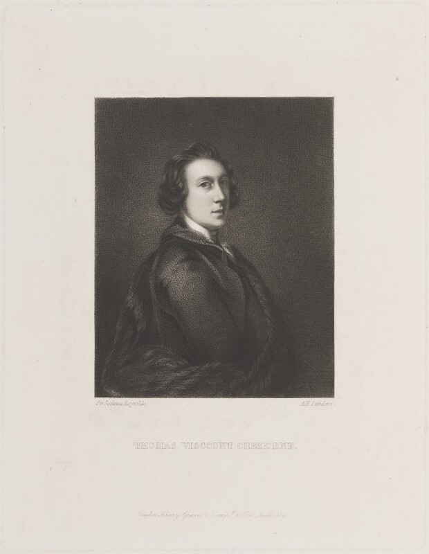 Thomas Dawson, 1st Viscount Cremorne, by Arthur N. Sanders, published by  Henry Graves, after  Sir Joshua Reynolds, published 1866 (1753-1754) - NPG D14846 - © National Portrait Gallery, London