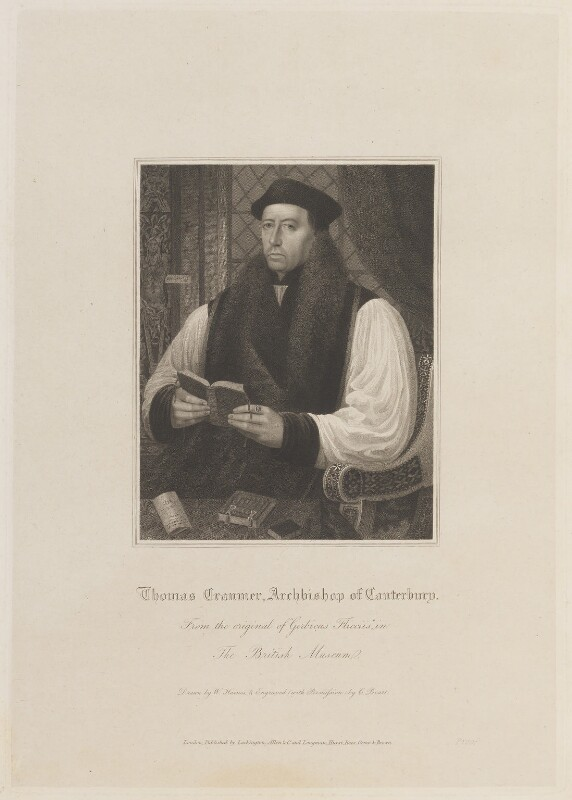 Thomas Cranmer, by Charles Picart, published by  Lackington, Allen & Co, and published by  Longman, Hurst, Rees, Orme & Brown, after  William Haines, after  Gerlach Flicke, published circa 1820 - NPG D14855 - © National Portrait Gallery, London