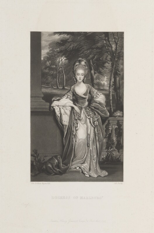 Lady Caroline Spencer (née Russell), Duchess of Marlborough, by James Scott, published by  Henry Graves & Co, after  Sir Joshua Reynolds, published 1863 (circa 1776) - NPG D14921 - © National Portrait Gallery, London