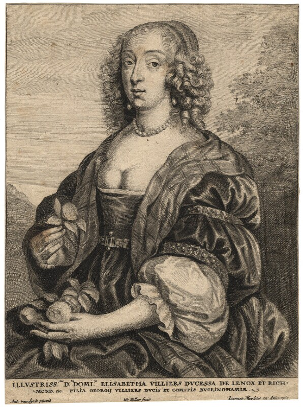 Mary Villiers, Duchess of Richmond and Lennox, by Wenceslaus Hollar, after  Sir Anthony van Dyck, mid 17th century - NPG D17939 - © National Portrait Gallery, London