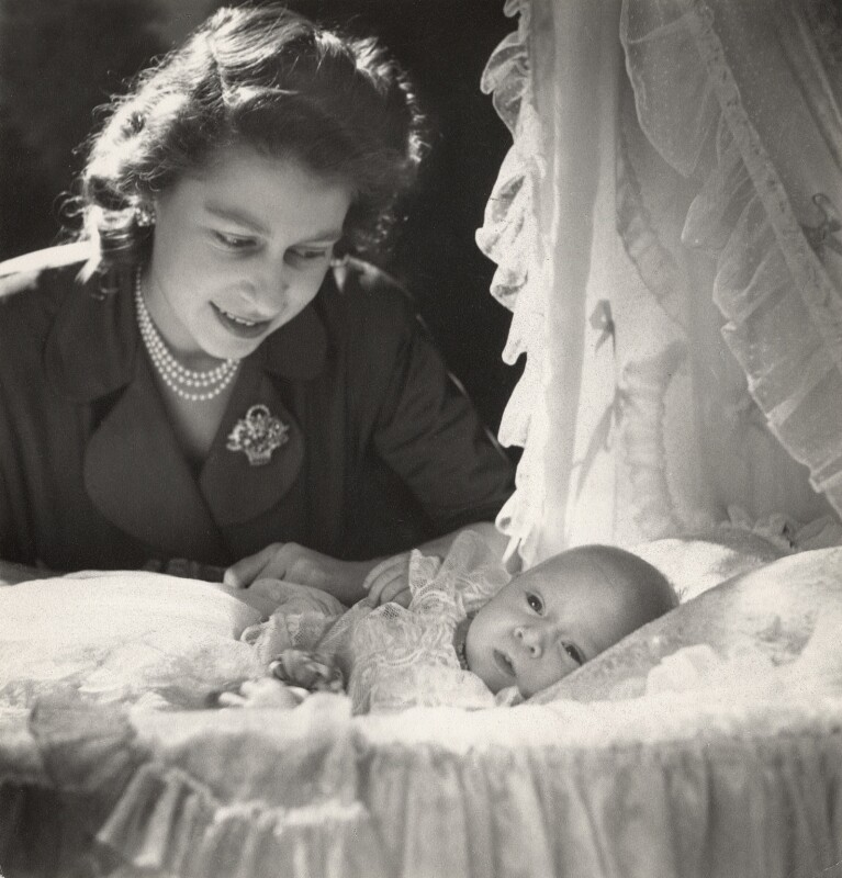 Queen Elizabeth II; Prince Charles, by Cecil Beaton, 14 December 1948 - NPG x29597 - © V&A Images