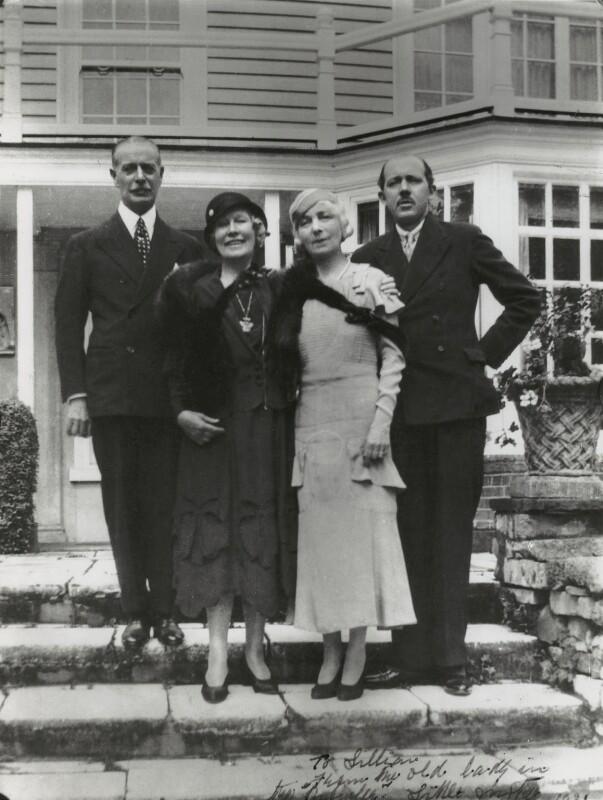 Sir Walter de Frece; Mary, Lady Hall Caine; Vesta Tilley; Gordon Ralph Hall Caine, copy by Bassano Ltd, 1931 (17 July 1935) - NPG x44221 - © National Portrait Gallery, London