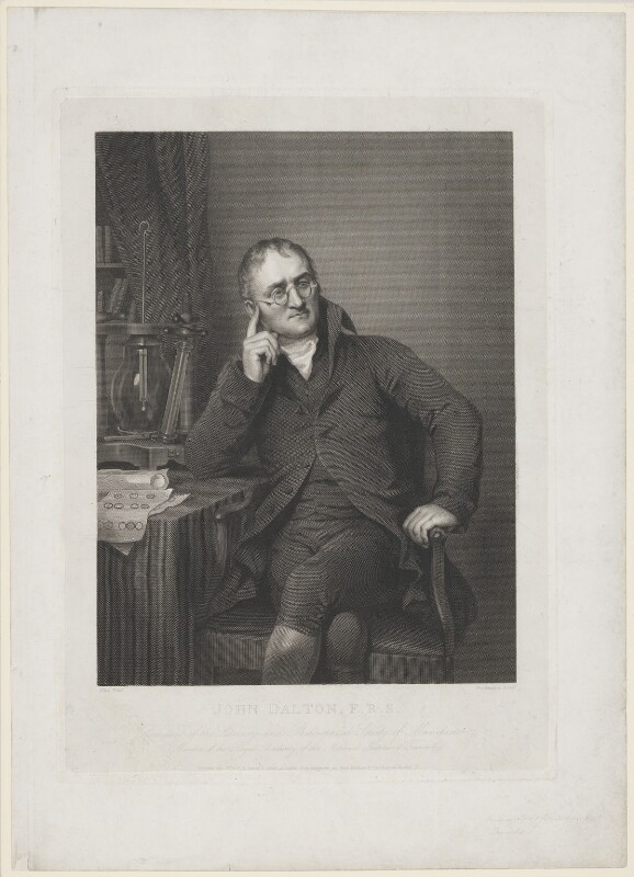 John Dalton, by William Henry Worthington, after  Joseph Allen, published 1823 (1814) - NPG D18095 - © National Portrait Gallery, London
