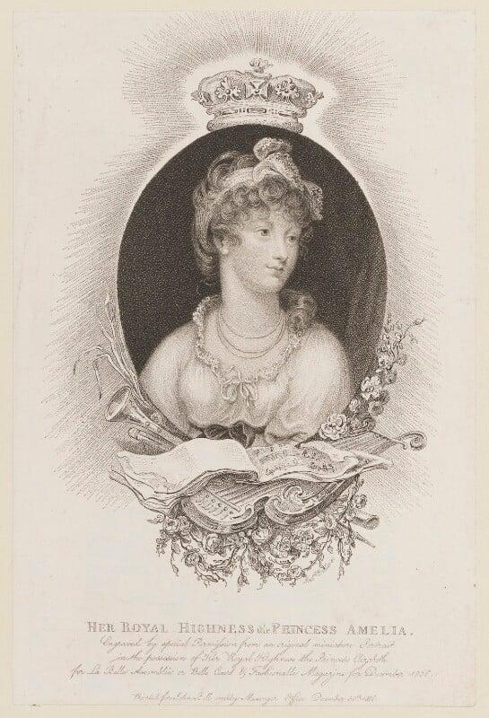 Princess Amelia, by Marie Anne Bourlier, published by  John Bell, published 30 December 1806 - NPG D14955 - © National Portrait Gallery, London