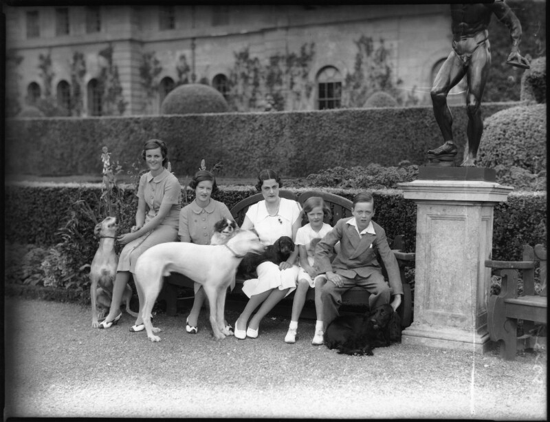 Lady Sarah Roubanis; Lady Caroline Waterhouse; Alexandra Cadogan, Duchess of Marlborough; Lady Rosemary Muir; John Spencer-Churchill, 11th Duke of Marlborough, by Bassano Ltd, 10 March 1937 - NPG x81371 - © National Portrait Gallery, London