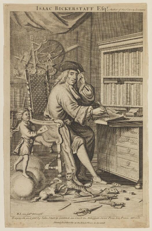 Sir Richard Steele, by John Sturt, published by  John Bowles, after  Bernard Lens (II), published 1710 - NPG D14964 - © National Portrait Gallery, London