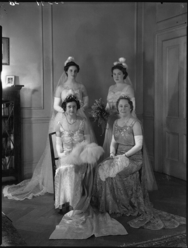 Emily Gladys Walpole (née Oakes), Countess of Orford; Lady Anne Sophia Berry (née Walpole) and two unknown women, by Bassano Ltd, 15 March 1939 - NPG x34272 - © National Portrait Gallery, London