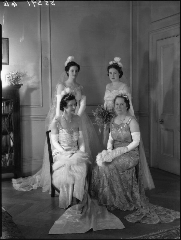 Emily Gladys Walpole (née Oakes), Countess of Orford; Lady Anne Sophia Berry (née Walpole) and two unknown women, by Bassano Ltd, 15 March 1939 - NPG x34273 - © National Portrait Gallery, London