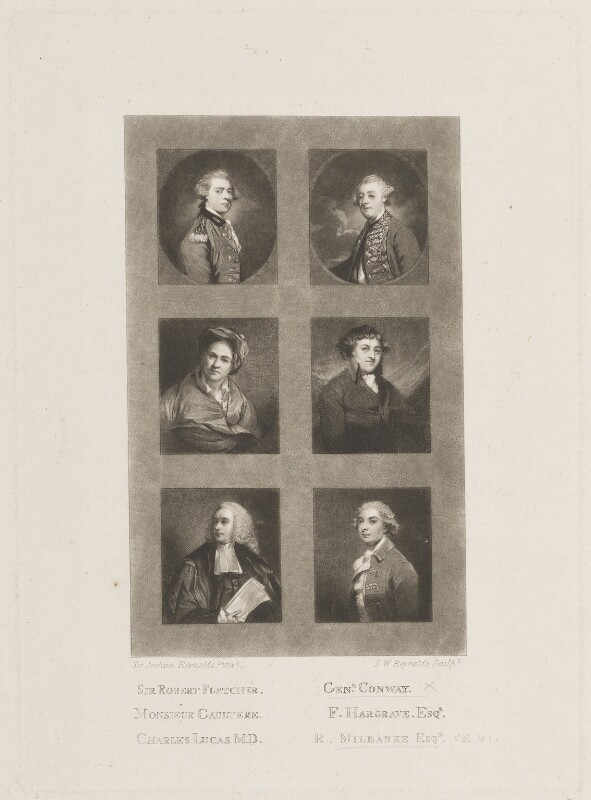 Sir Robert Fletcher; Monsieur Gaultere; Charles Lucas; General Conway; Francis Hargrave; Sir Ralph Noel Milbanke, 6th Bt, by Samuel William Reynolds, after  Sir Joshua Reynolds, published circa 1820 - NPG D14981 - © National Portrait Gallery, London