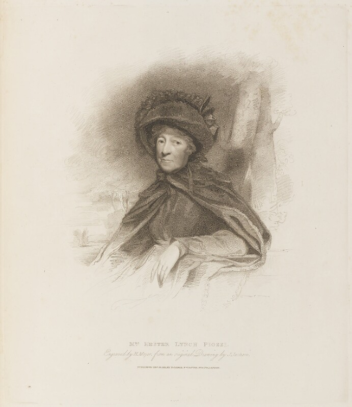 Hester Lynch Piozzi (née Salusbury, later Mrs Thrale), by Henry Meyer, published by  T. Cadell & W. Davies, after  John Jackson, published 21 December 1811 - NPG D14994 - © National Portrait Gallery, London