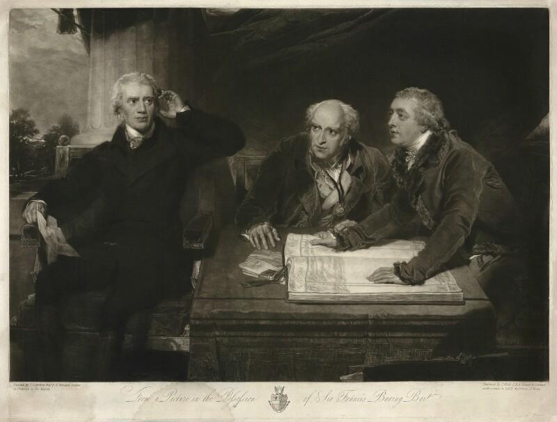 Sir Francis Baring, 1st Bt, John Baring; Charles Wall, by James Ward, after  Sir Thomas Lawrence, (1806-1807) - NPG D18119 - © National Portrait Gallery, London