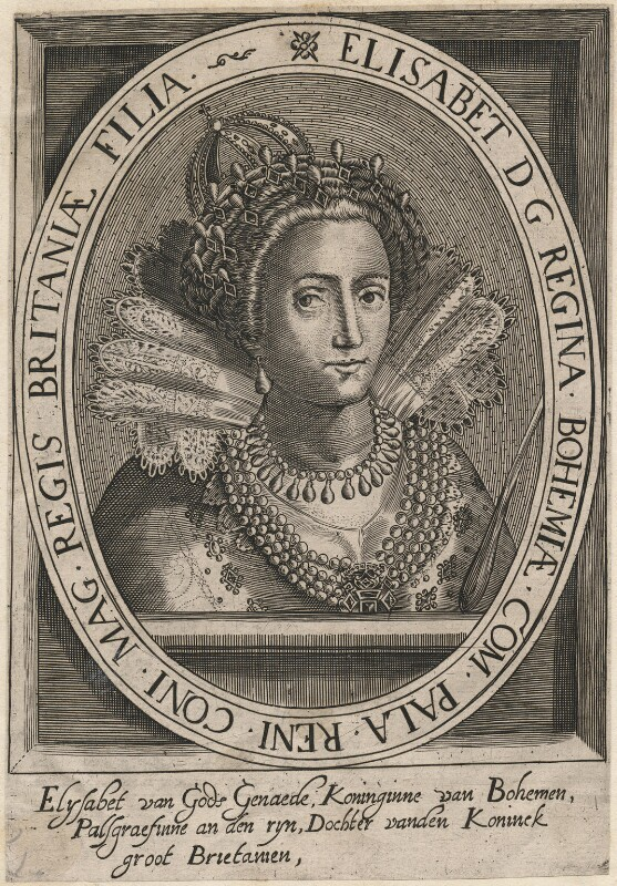 Princess Elizabeth, Queen of Bohemia and Electress Palatine, after Crispijn de Passe the Elder, 17th century - NPG D18129 - © National Portrait Gallery, London
