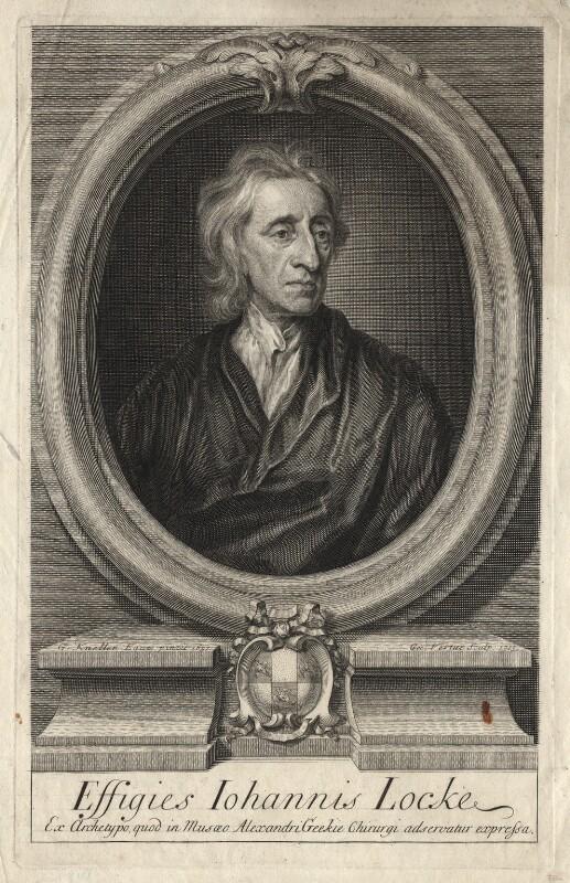 John Locke, by George Vertue, after  Sir Godfrey Kneller, Bt, 1713 (1697) - NPG D18162 - © National Portrait Gallery, London