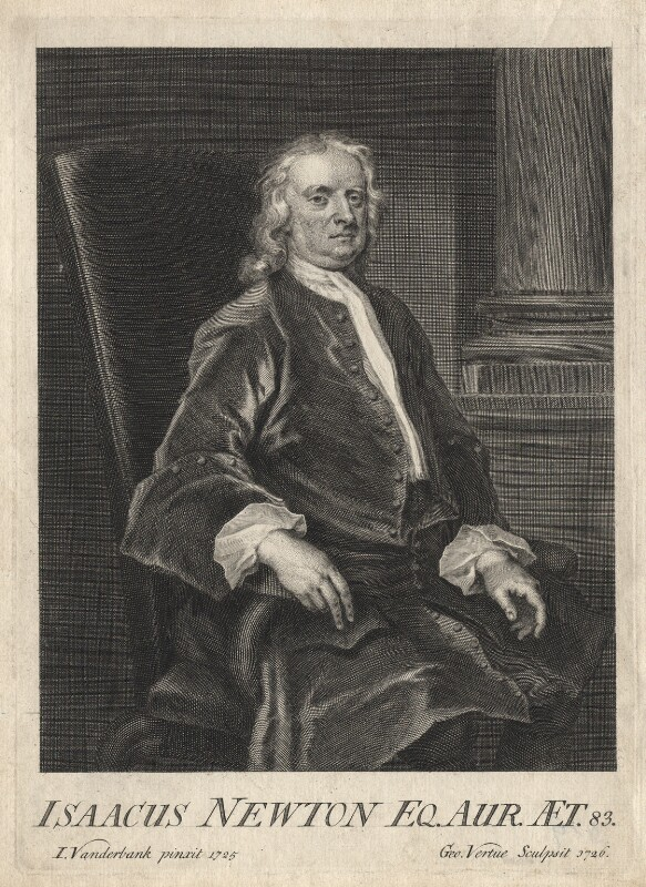Sir Isaac Newton, by George Vertue, after  John Vanderbank, 1726 (1725) - NPG D18163 - © National Portrait Gallery, London