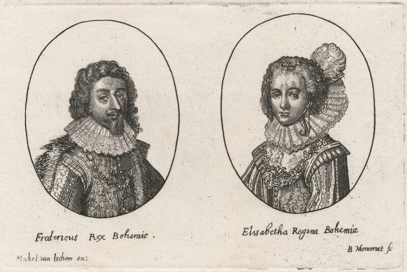 Frederick V, King of Bohemia and Elector Palatine; Princess Elizabeth, Queen of Bohemia and Electress Palatine, by Balthasar Moncornet, published by  Michel van Lochom, 1624 or after - NPG D18169 - © National Portrait Gallery, London