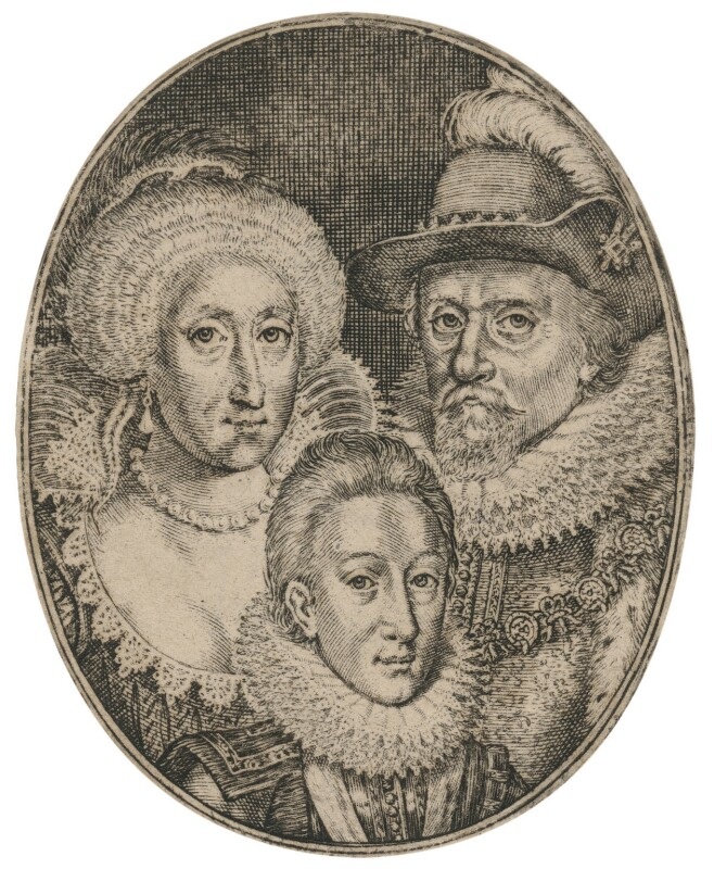 Anne of Denmark; King Charles I when Prince of Wales; King James I of England and VI of Scotland, by Simon de Passe, after 1612 - NPG D18185 - © National Portrait Gallery, London