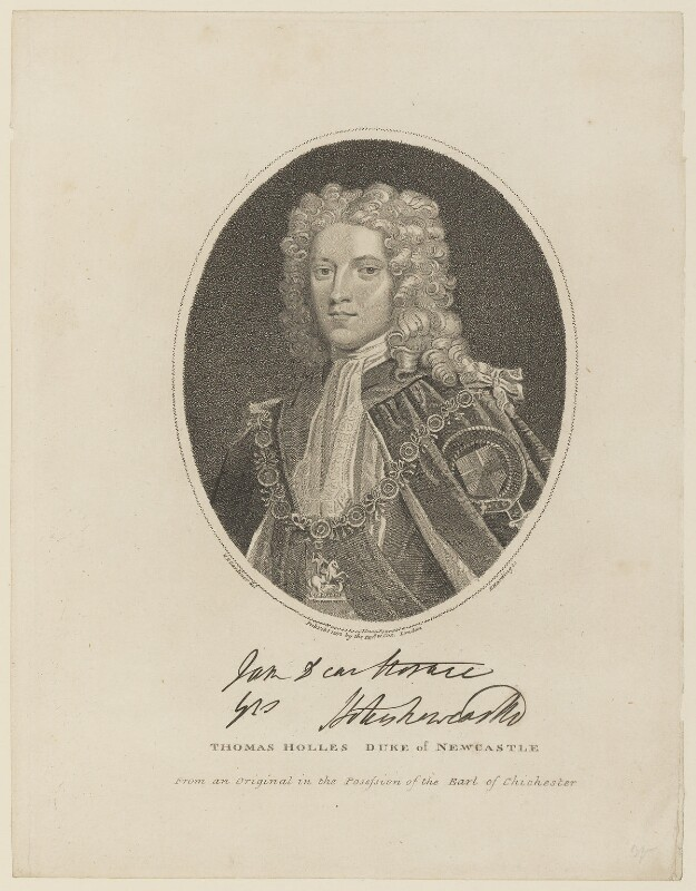 Thomas Pelham-Holles, 1st Duke of Newcastle-under-Lyne, by Edward Harding, published by  William Coxe, after  William Nelson Gardiner, published 1 February 1802 - NPG D15093 - © National Portrait Gallery, London
