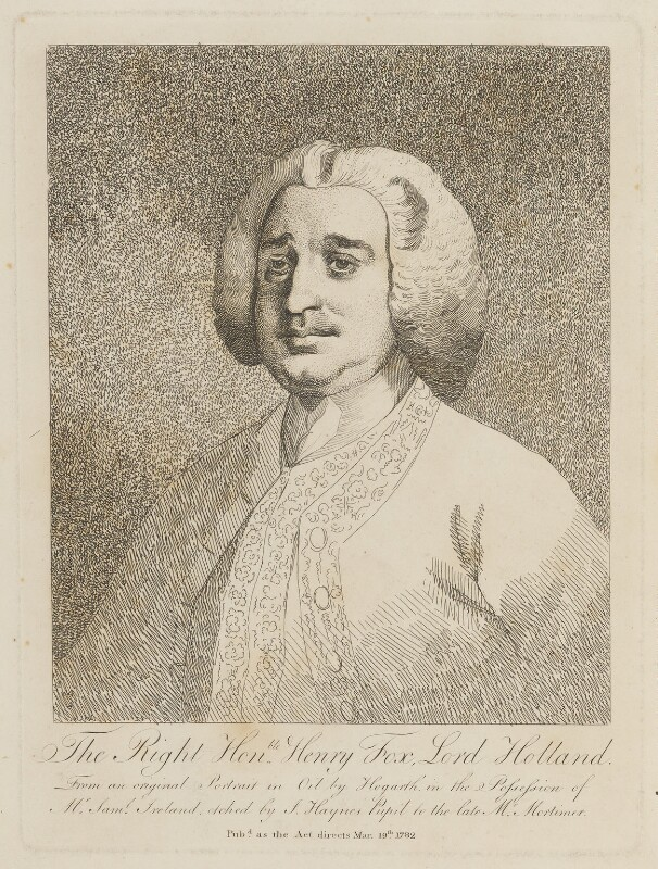 Henry Fox, 1st Baron Holland, by Joseph Haynes, after  William Hogarth, published 19 March 1782 - NPG D15100 - © National Portrait Gallery, London