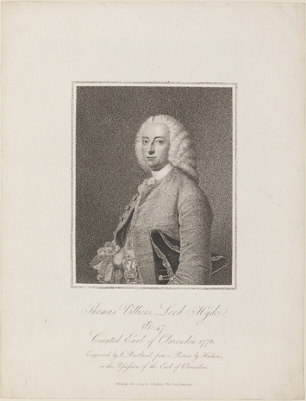 Thomas Villiers, 1st Earl of Clarendon, by and published by Charles (Cantelowe, Cantlo) Bestland, after  Thomas Hudson, published 1 June 1803 - NPG D15142 - © National Portrait Gallery, London