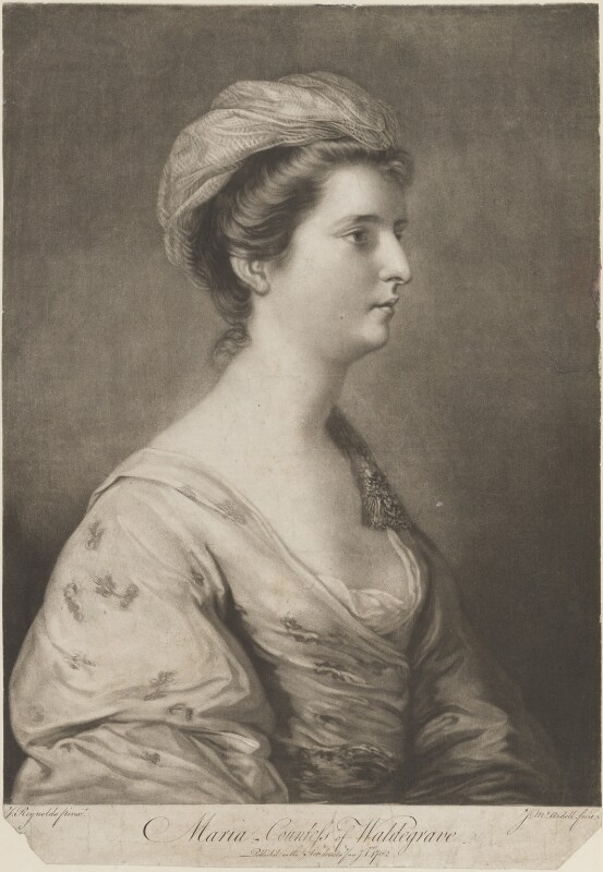 Maria (née Walpole), Duchess of Gloucester and Edinburgh, by James Macardell, after  Sir Joshua Reynolds, published 1 January 1762 (1760-1761) - NPG D15144 - © National Portrait Gallery, London