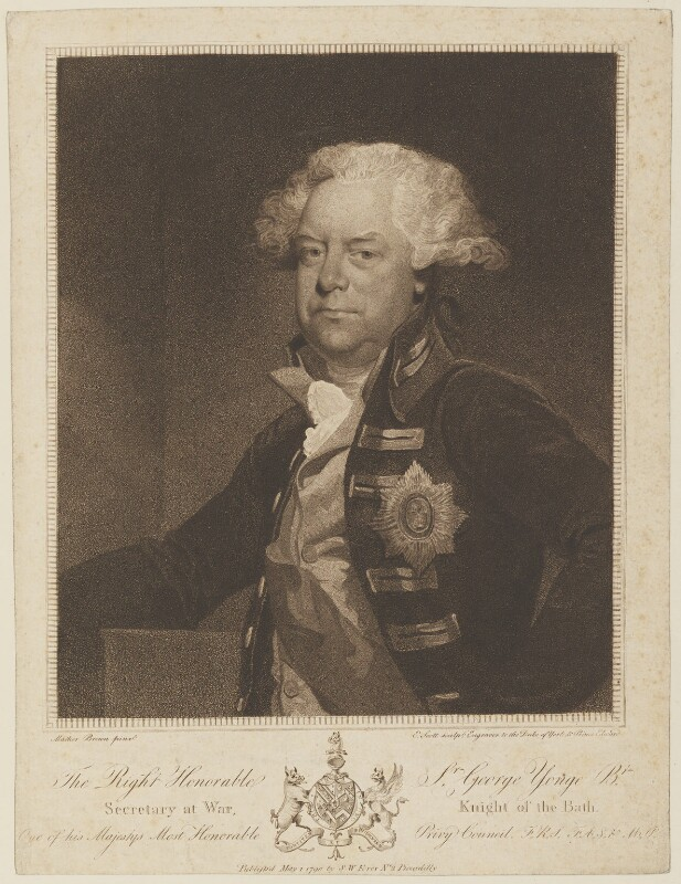 Sir George Yonge, 5th Bt, by Edmund Scott, published by  Samuel William Fores, after  Mather Brown, published 1 May 1790 - NPG D15170 - © National Portrait Gallery, London