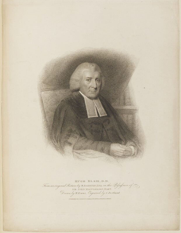 Hugh Blair, by Charles (Cantelowe, Cantlo) Bestland, published by  T. Cadell & W. Davies, after  William Evans, after  Sir Henry Raeburn, published 4 December 1809 - NPG D15189 - © National Portrait Gallery, London