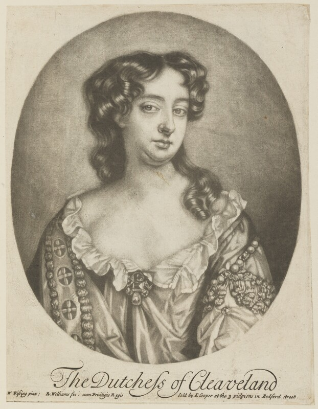 Barbara Palmer (née Villiers), Duchess of Cleveland, by Robert Williams, published by  Edward Cooper, after  Willem Wissing, (circa 1680-1687) - NPG D15199 - © National Portrait Gallery, London