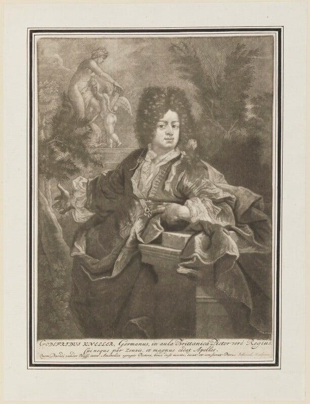 Sir Godfrey Kneller, Bt, possibly by Pieter Schenck, after  David van der Plas, circa 1675-1700 - NPG D15201 - © National Portrait Gallery, London