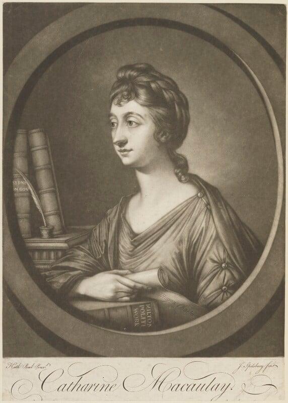 Catharine Macaulay (née Sawbridge), by Jonathan Spilsbury, after  Katharine Read, published September 1764 - NPG D15235 - © National Portrait Gallery, London