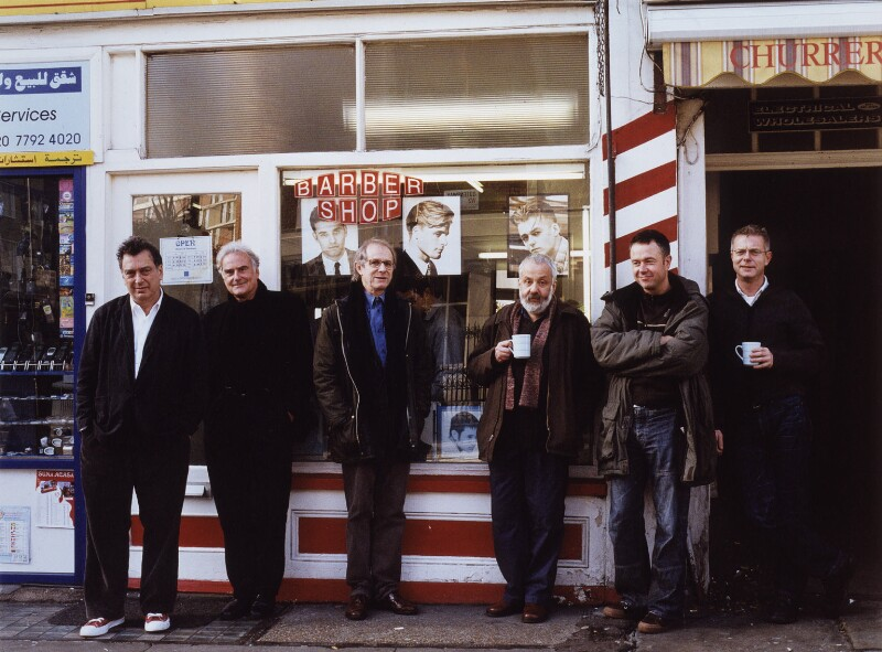 British film directors (Stephen Frears; Sir Richard Eyre; Ken Loach; Mike Leigh; Michael Winterbottom; Stephen Daldry), by Mary McCartney, December 2002 - NPG x126206 - © Mary McCartney