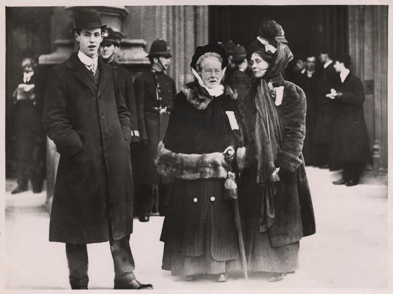 Elizabeth Garrett Anderson; Emmeline Pankhurst, by Unknown photographer, 18 November 1910 - NPG x32106 - © National Portrait Gallery, London