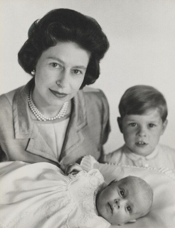 Queen Elizabeth II; Prince Andrew, Duke of York; Prince Edward, by Cecil Beaton, May 1964 - NPG x26038 - © V&A Images