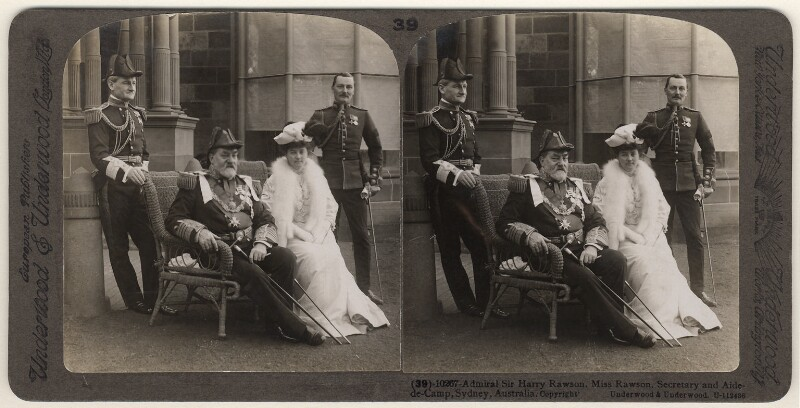 Sir Harry Holdsworth Rawson and Alice Rawson with two unknown others, published by Underwood & Underwood, after 1905 - NPG x33937 - © National Portrait Gallery, London