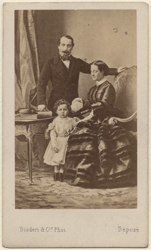 Napoléon III, Emperor of France; Napoléon, Prince Imperial; Eugénie, Empress of France, by Disdéri, circa 1858 - NPG Ax38436 - © National Portrait Gallery, London