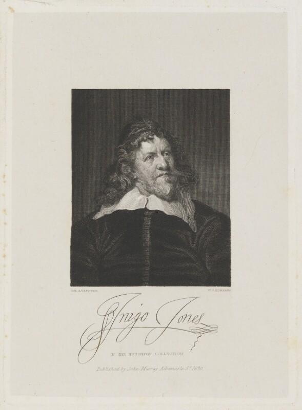 Inigo Jones, by William Camden Edwards, published by  John Samuel Murray, after  Sir Anthony van Dyck, published 1830 (circa 1632-1635) - NPG D15250 - © National Portrait Gallery, London
