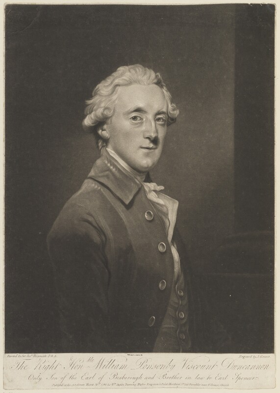 Frederick Ponsonby, 3rd Earl of Bessborough, by Joseph Grozer, published by  William Austin, after  Sir Joshua Reynolds, published 31 March 1786 (1785) - NPG D15273 - © National Portrait Gallery, London