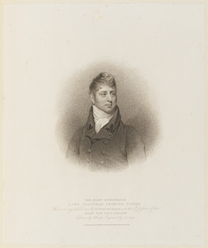 Granville Leveson-Gower, 1st Earl Granville, by John Samuel Agar, published by  T. Cadell & W. Davies, after  John Wright, after  Thomas Phillips, published 17 May 1813 - NPG D15275 - © National Portrait Gallery, London